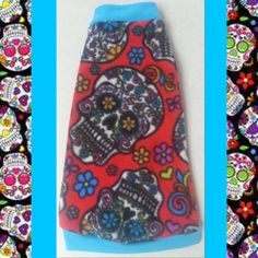 """Red Turquoise Fleece """"Sugar Skulls"""" for your Sphynx cat or kitten! Various sizes available! Cat clothes!"""