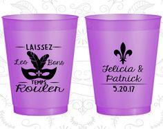 Laissez Les Bons Temps Rouler, Wedding Favor Frosted Party Cups, Mardi Gras Wedding, Fleur De Lis, Purple Frosted Cups (339)