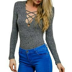 Lace-up Marled Ribbed Top Sexy body hugging mini dress (or top) features lace-up at front, long sleeves, and ribbed cotton material. Marled Grey color. Brand new. Boutique Tops Tunics