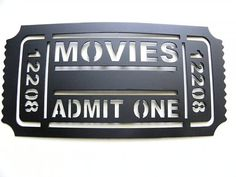 "Movie Ticket Home Theater Decor Movies  Admit One 12"" Metal Wall Art Black on Etsy, $26.46 CAD"