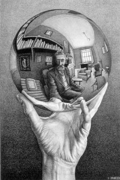 """M.C. Escher, """"Hand with Reflecting Sphere,"""" 1935. (Full print.)"""