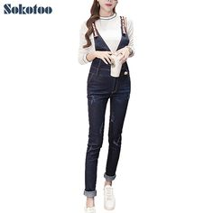 23.75$  Watch now - http://alifje.shopchina.info/1/go.php?t=32727264202 - Sokotoo Women's casual dark blue denim slim skinny bib overalls Pencil jeans Jumpsuits Long pants 23.75$ #buyonlinewebsite