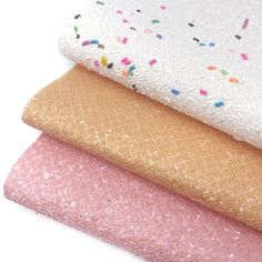Ice Cream Sundae Chunky Glitter Fabric Sheets Ice Cream At Home, Glitter Fabric, Craft Supplies, Bows, Colours, A4, Pink, Crafts, Printed