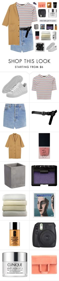"""""""it's my birthday!"""" by peachy-clean ❤ liked on Polyvore featuring adidas, Vetements, ASOS, Monki, NARS Cosmetics, CB2, Peacock Alley, Clinique, Fujifilm and Maison Margiela"""