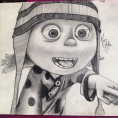 Edith drawing from despicable me! She is so cute :) drawing in pencil. Commission pieces done upon request message captainartmorgan66@gmail.com