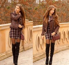 Get this look: http://lb.nu/look/7924038  More looks by ZOYA Onlymyfashionstyle.blogspot.com: http://lb.nu/zoyaa  Items in this look:  Jacket, Bag, Dress   #chic #romantic #street