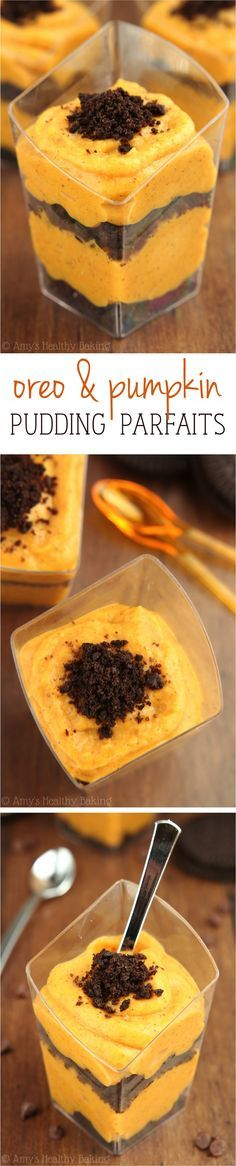 Skinny Oreo & Pumpkin Pudding Parfaits -- SO good! Like pumpkin pie in a glass. Super easy & only 45 calories!