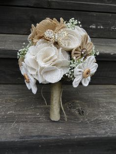 Burlap Bridal Bouquet with live baby's breath and a few brooches added. Flowers made by hand of burlap scraps.