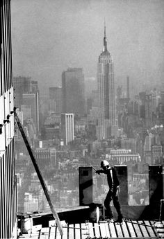 Construction work on one of the top floors of the World Trade Center during construction.
