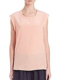 3.1 Phillip Lim Silk Muscle Tee - Peachy - Size