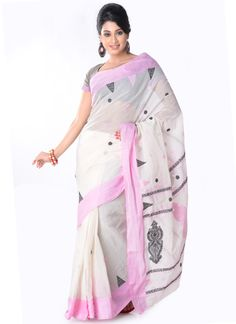 Off White Bengal Cotton Saree