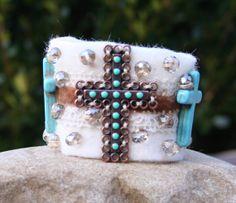 Cross Bracelet Cuff Christian Cuff Bracelet by MissieRabdau, $50.00