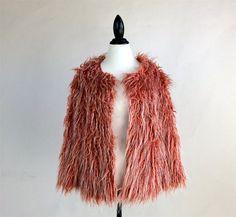 90's Orange Super Shaggy Faux Fur Cropped by FeelingVagueVintage