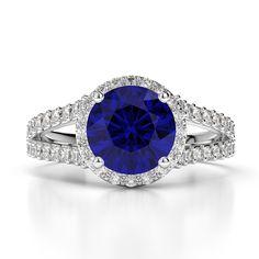 Gold / platinum round cut sapphire and diamond engagement ring Blue Sapphire Rings, Sapphire Diamond, Gold Platinum, Diamond Engagement Rings, Rose Gold, Jewelry, White Gold, Yellow, Jewels