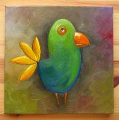 Green Bird Original Art Animals Weird Birds Weird by MikiMayoShop
