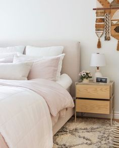 b78cf6ad3a7 Blush linen bedding is a great addition to a mid-century modern bedroom.  Parachute