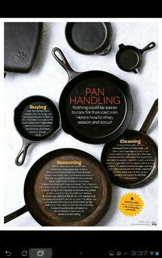"Cast iron cleaning & seasoning.  <3<3 our pins?  ""LIKE"" us at: https://www.facebook.com/bound4burlingame to get camping tips, recipe ideas, DIYs, outdoor ideas and sensational finds on your newsfeed."