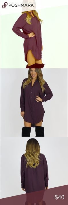2b574c0be40 Cecico Boyfriend Shirt Dress - Eggplant This luxurious multi-use shirt dress  can be worn