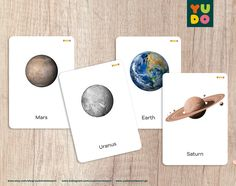 Montessori 3-part Cards about the solar system with two | Etsy Different Fonts, Picture Cards, Moon Phases, Cursive, Solar System, Mercury, Venus, Etsy Store, Finding Yourself