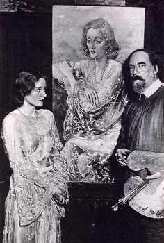 Welsh artist Augustus John with Bankhead and her portrait (1929)