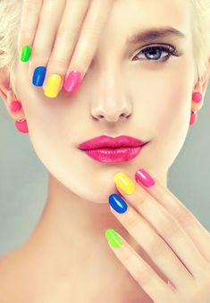 Stock photo - stylish blonde girl with bright makeup and colorful nail polish on your nails . spring and summer look and earrings beads Nail Manicure, Nail Polish, Nail Signs, Salon Signs, Elegant Makeup, Oriflame Cosmetics, Bright Makeup, Matte Nails, Trendy Nails