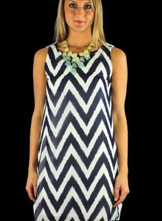 Blue Day Dress - Navy & White Chevron Print