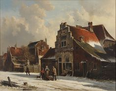 269: DUTCH PAINTING BY ADRIANUS EVERSEN, 19TH CENTURY : Lot 269 French Paintings, Perspective Art, Medieval Life, Winter Painting, Dutch Painters, Painting Gallery, Art Abstrait, Winter Landscape, Delft