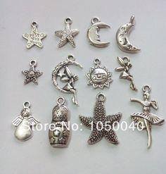 120cs mixta tono de plata tibetana luna sol estrellas encanta los colgantes arte de la joyería DIY Charm Jewelry Making(China (Mainland))