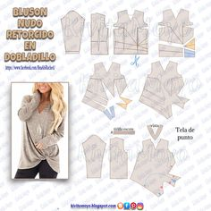 Sewing Shirts, Sewing Clothes, Dress Sewing Patterns, Blouse Patterns, Pattern Draping, Womens Trendy Tops, Diy Tops, Modelista, Vest Pattern