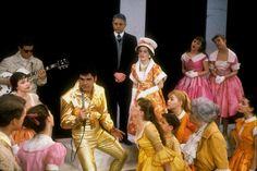 Dick Gautier surrounded by company in Bye Bye Birdie Bye Bye Birdie, New York Public Library, Costume Design, Sari, Costumes, Disney Princess, Concert, Disney Characters, Theatre