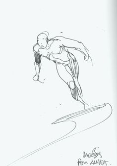 Silver Surfer by Moebius, in Alexandre Collection's European Masters Comic Art Gallery Room Moebius Comics, Moebius Art, Illustration Sketches, Illustrations, Graphic Design Illustration, Jean Giraud, Hero Symbol, Statues, Comic Tattoo