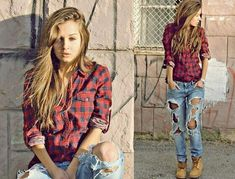 Plaid, distressed jeans & timberland boots