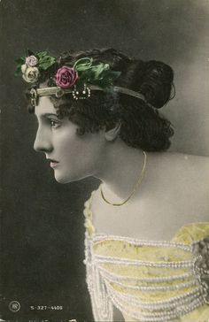Vintage French hand tinted photo postcard - Lady with roses on headpiece - Victorian Paper Ephemera