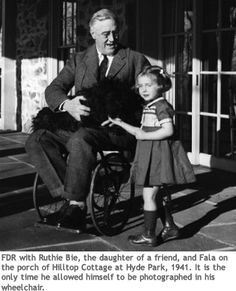 FDR with Ruthie Bie, the daughter of a friend, and Fala on the porch of Hilltop Cottage at Hyde Park, 1941. It is the only time he allowed himself to be photographed in his wheelchair. #PresidentsDay