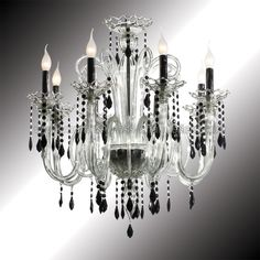 """Vittoria"" 8 lights crystal and black Murano glass chandelier"