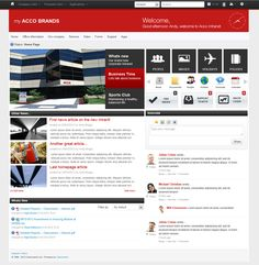 intranet homepage design with a focus on sharing news articles providing fast access buttons and
