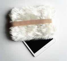 """iPad mini case, iPad mini 2, mini3 cover, off white faux fur case, case for mobile accessories - """"creamy_off white"""""""