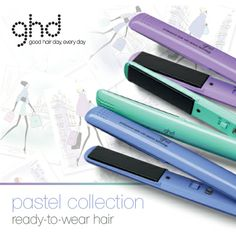 The new  Ghd pastel collection now available at Yazz Number One Hair Salons. Take your cue from the catwalk with their prettiest collection of stylers yet. In shades of periwinkle, jade and lavender, styling never looked so chic. Retail price £110.