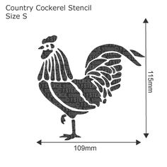 Country Cockerel Stencil - Buy reusable wall stencils online at The Stencil Studio.