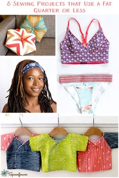 8 Sewing Projects Using a Fat Quarter Easy Sewing Projects, Sewing Hacks, Sewing Tutorials, Sewing Crafts, Sewing Patterns, Fabric Crafts, Sewing Ideas, Diy Clothing, Sewing Clothes