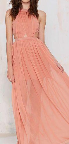 Sheer coral maxi dress