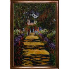 overstockArt Monet Garden Path at Giverny Oil Painting with Verona Cafe, Coffee Brown Patina Finish ** Find out more about the great product at the image link.