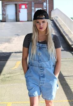 1980s vintage Lee light denim dungarees playsuit