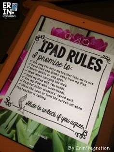 iPad Rules Decorated Lock Screen - swipe to access the iPad Classroom Posters, Classroom Setup, Classroom Design, Classroom Organization, Classroom Rules, Classroom Projects, Classroom Management, Teaching Technology, Educational Technology