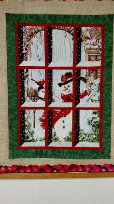 Best 12 Quilted And Pieced Wall Hanging Attic Window Birds In By Minimade – SkillOfKing. Christmas Quilt Patterns, Christmas Sewing, Noel Christmas, Christmas Quilting, Xmas, Quilting Projects, Quilting Designs, Fabric Panel Quilts, Attic Window Quilts