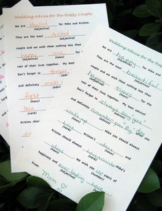 Advice for the Bride and Groom in the form of Mad Libs. DIY Mad Libs!