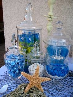 Blue Candy Display - great for Little Mermaid, Under the Sea or Finding Nemo party http://kinnaly.blogspot.com/2010/01/under-sea-soiree_3857.html