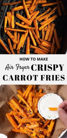 Perfectly seasoned and so delicious, these air fryer roasted carrots are an easy healthy snack or side dish. Make these crispy yet tender roasted carrots fries in the air fryer or oven. | Air Fryer Vegetables | Carrot Dishes | Whole30 Carrots | Paleo Carrots | #airfryercarrots | pipingpotcurry.com