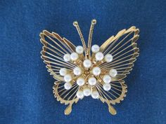 Vintage Monet Gold Tone Butterfly Brooch With Pearl by BitofHope, $22.00