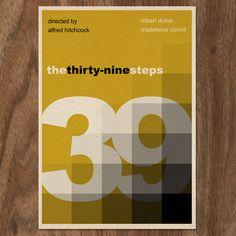 The Thirty-Nine Steps minimalist 16x12 movie poster print